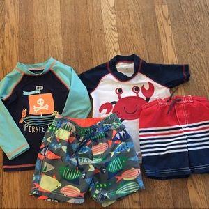 4 piece Toddler Boy Bath Suit Sets